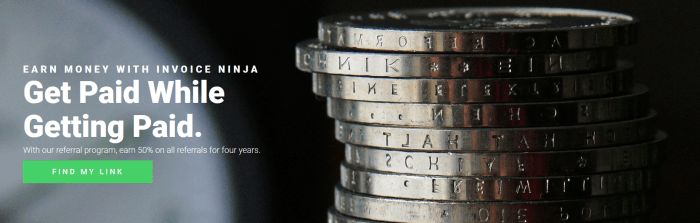 A website screenshot from the Invoice Ninja affiliate program showing a stack of coins