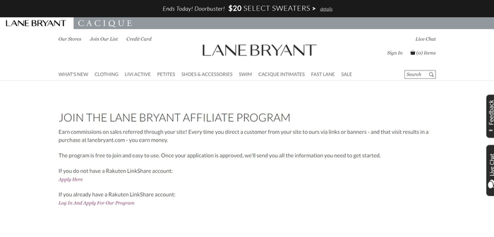 screenshot of the affiliate sign up page for Lane Bryant