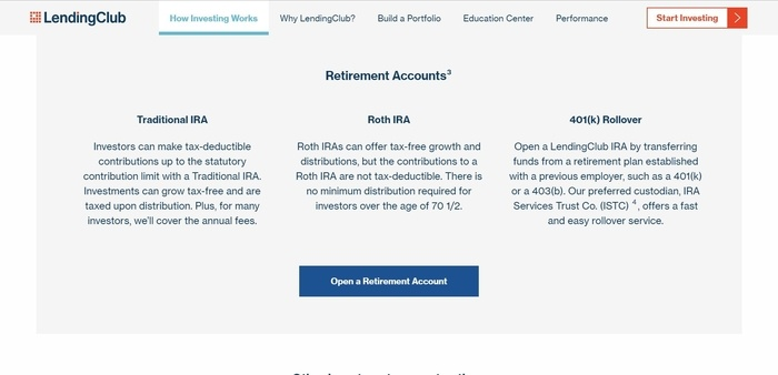 screenshot of the affiliate sign up page for Lending Club Investor
