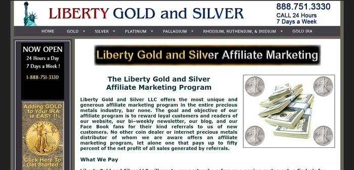 screenshot of the affiliate sign up page for Liberty Gold and Silver