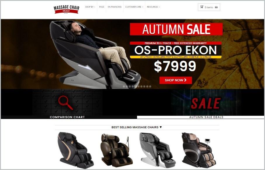 screenshot of Massage Chair Deals home page