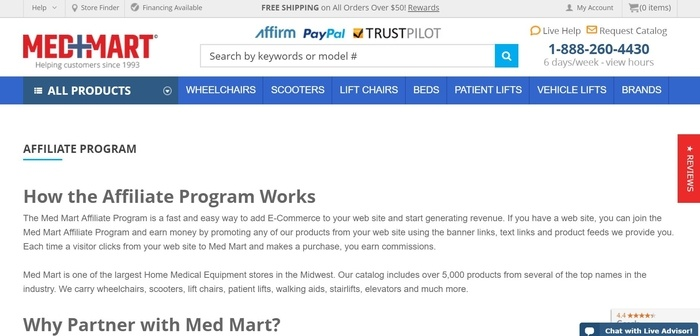 screenshot of the affiliate sign up page for Med Mart