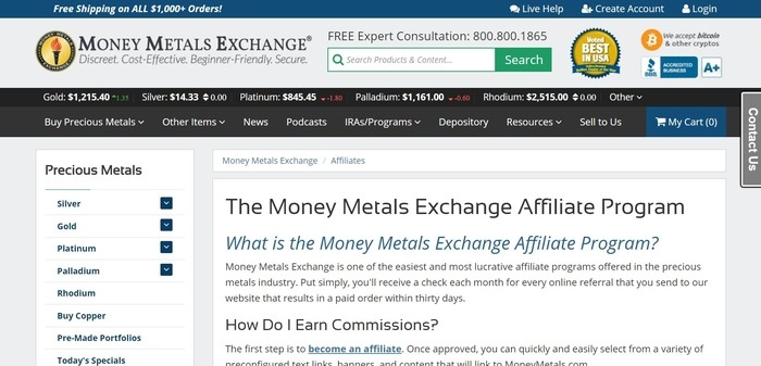 screenshot of the affiliate sign up page for Money Metals Exchange