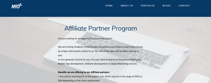A screenshot from the My Apps Development affiliate program showing text and a background image of a computer
