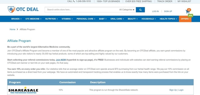 screenshot of the affiliate sign up page for OTCDeal