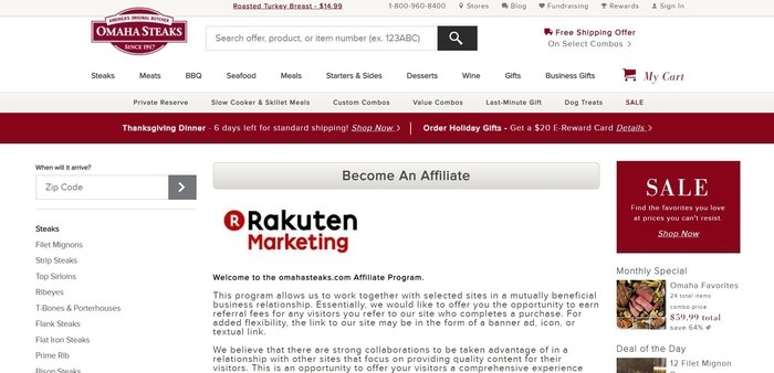 screenshot of the affiliate sign up page for Omaha Steaks