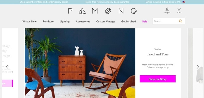 screenshot of the affiliate sign up page for Pamono