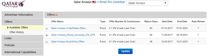 Qatar Airways Affiliate Program Commission Rate