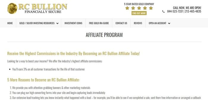screenshot of the affiliate sign up page for RC Bullion