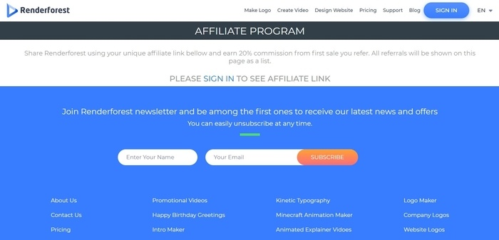 screenshot of the affiliate sign up page for Renderforest