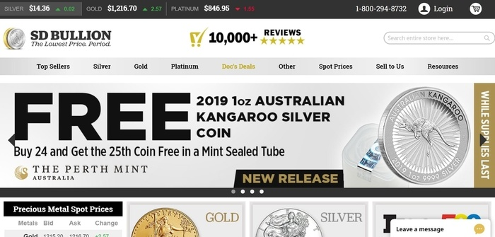screenshot of the affiliate sign up page for SD Bullion