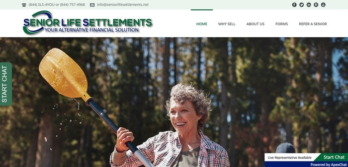 screenshot of the affiliate sign up page for Senior Life Settlements