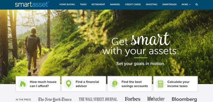 screenshot of the affiliate sign up page for SmartAssest