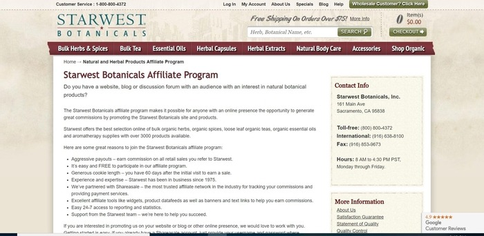 screenshot of the affiliate sign up page for Starwest Botanicalss