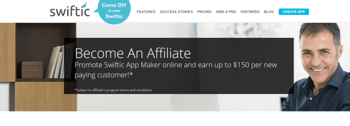 A screenshot from the Swiftic affiliate program showing a smiling man and some products