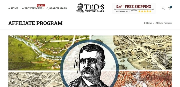 screenshot of the affiliate sign up page for Ted's Vintage Maps