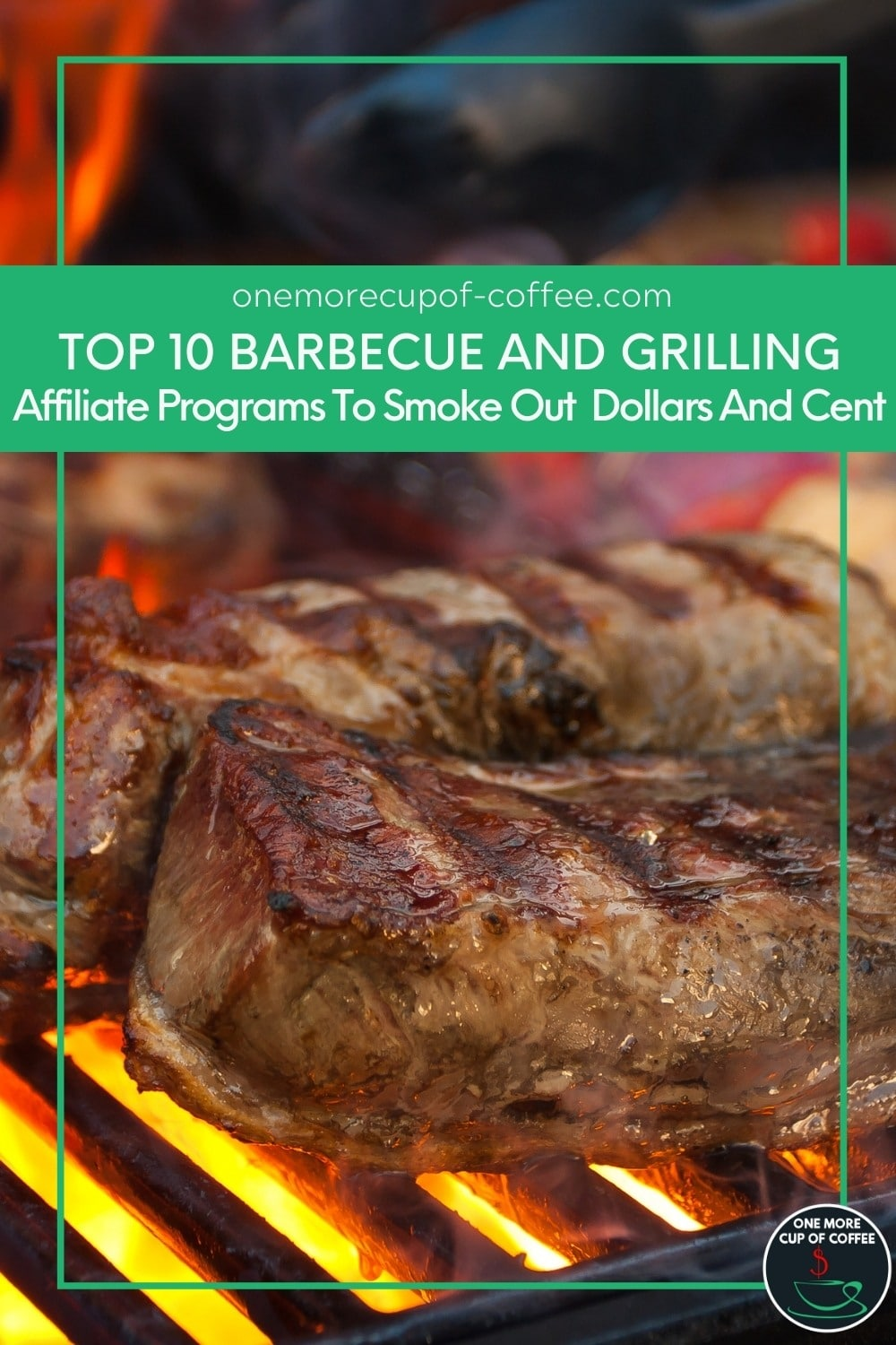 """closeup image of meat on barbecue grill, with text overlay in green banner """"Top 10 Barbecue and Grilling Affiliate Programs To Smoke Out Dollars And Cents"""""""