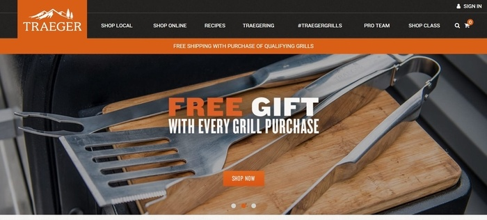screenshot of the affiliate sign up page for Traeger Grills