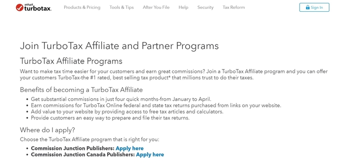 screenshot of the affiliate sign up page for TurboTax