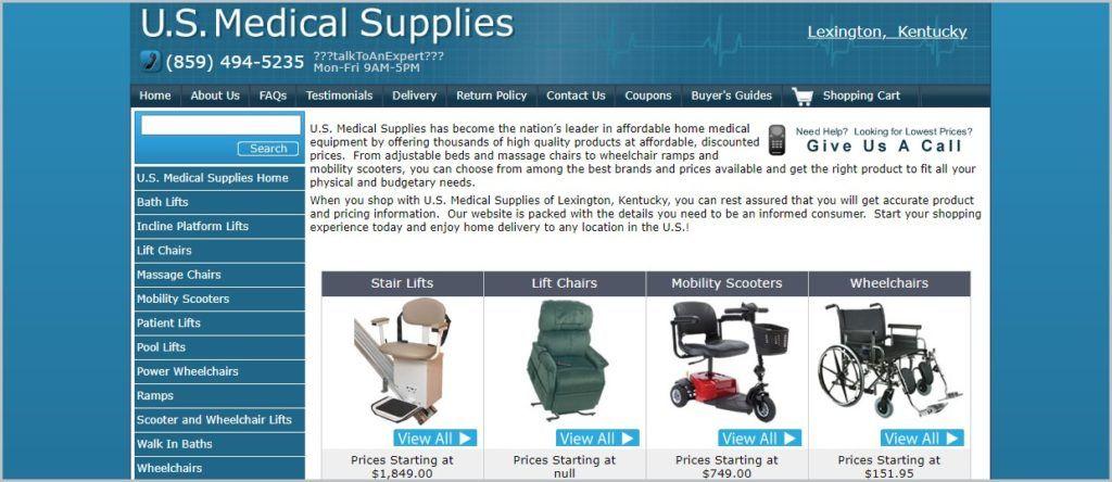 screenshot of U.S. Medical Supplies home page