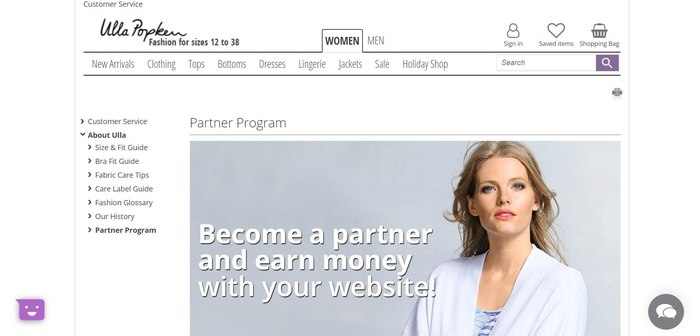 screenshot of the affiliate sign up page for Ulla Popken