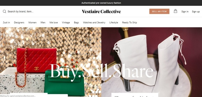 screenshot of the affiliate sign up page for Vestiaire Collective