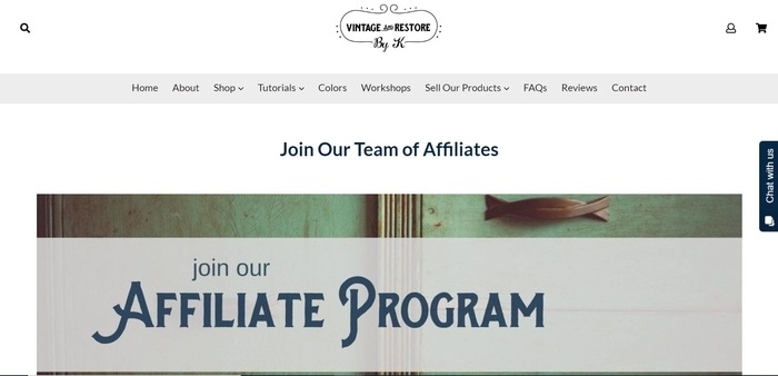 screenshot of the affiliate sign up page for Vintage and Restore
