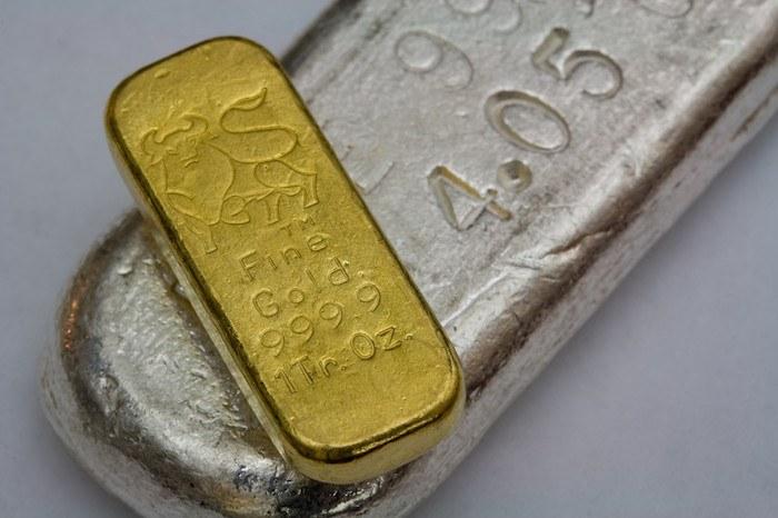closeup of gold and silver bullion bars