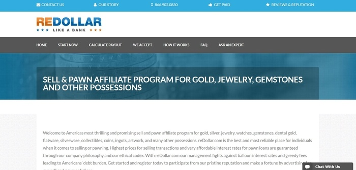 screenshot of the affiliate sign up page for reDollar.com