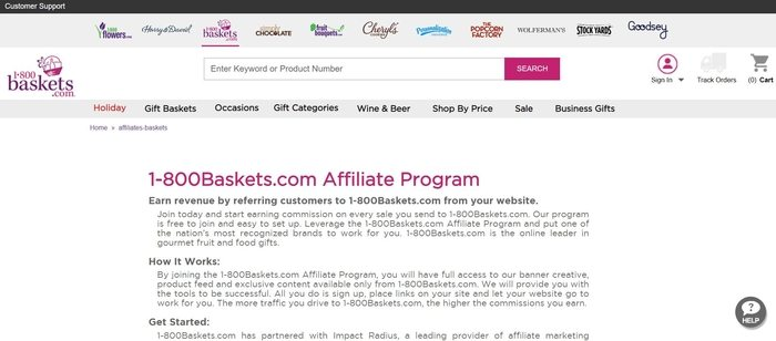 screenshot of the affiliate sign up page for 1-800Baskets.com