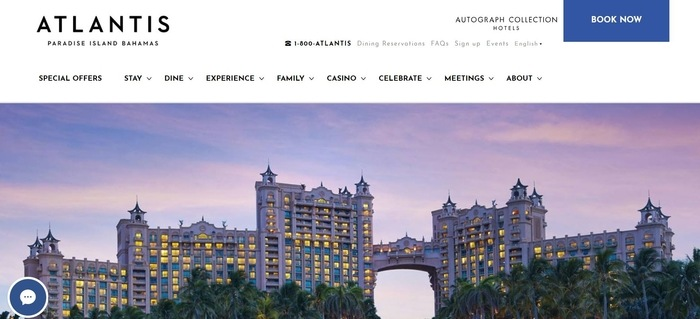 screenshot of the affiliate sign up page for Atlantis, Paradise Island