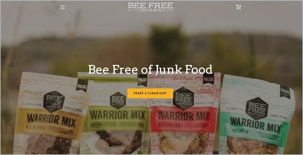screenshot of BeeFree home page.