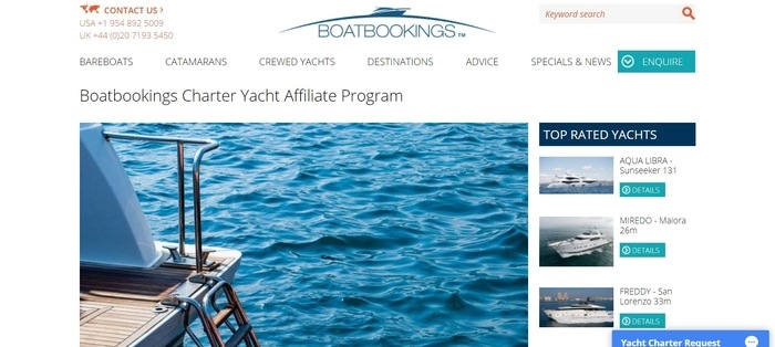 screenshot of the affiliate sign up page for Boatbookings