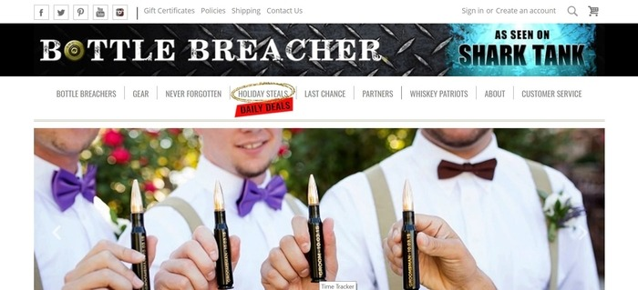 screenshot of the affiliate sign up page for Bottle Breacher