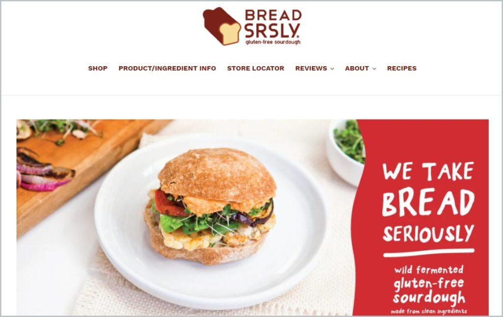 screenshot of Bread SRSLY homepage