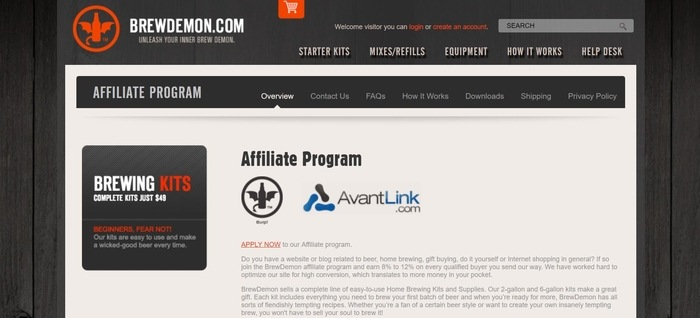 screenshot of the affiliate sign up page for BrewDemon