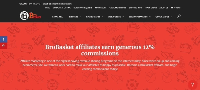 screenshot of the affiliate sign up page for BroBasket