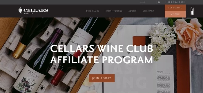 screenshot of the affiliate sign up page for Cellars Wine Club