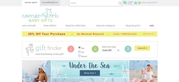 screenshot of the affiliate sign up page for Corner Stork Baby Gifts
