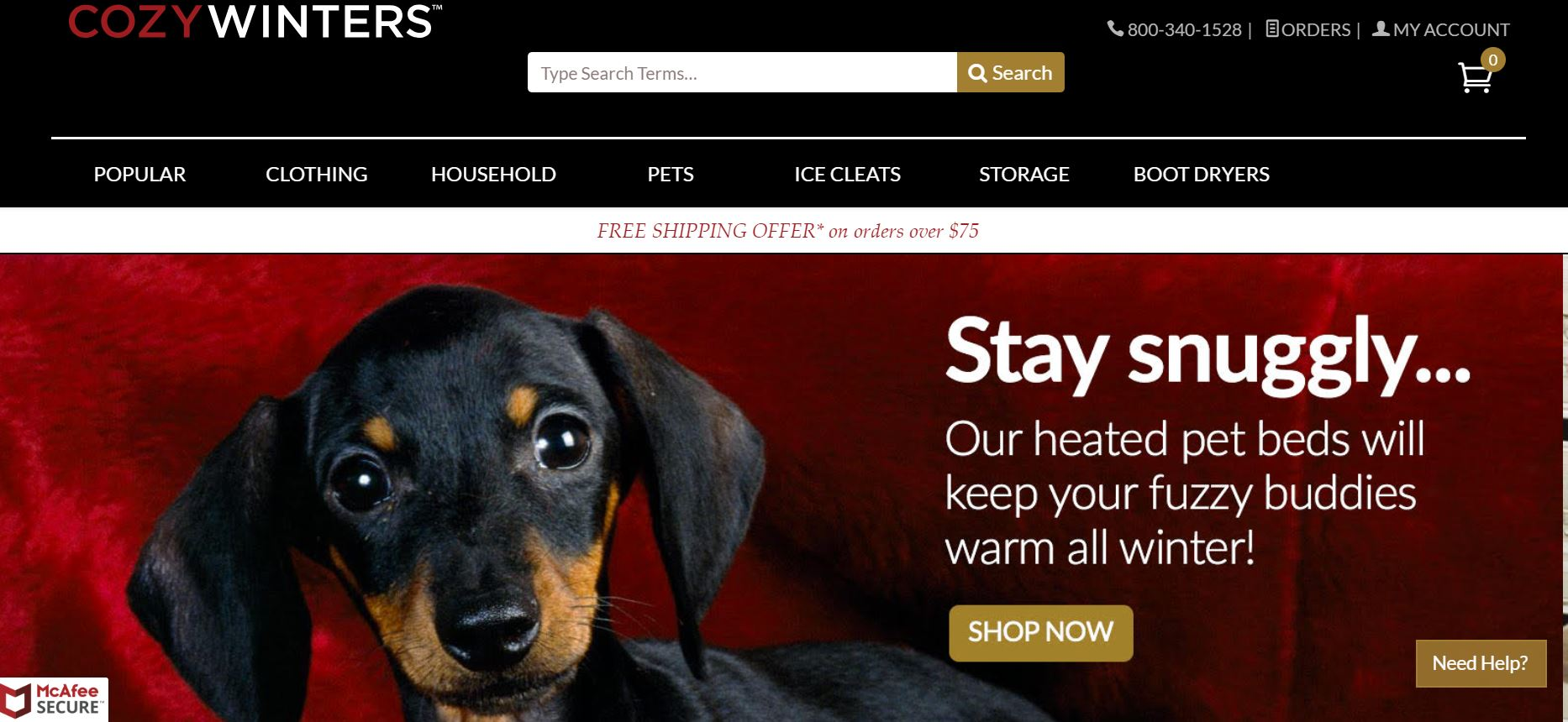 screenshot of the affiliate sign up page for Cozy Winters