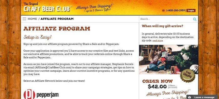 screenshot of the affiliate sign up page for Craft Beer Club
