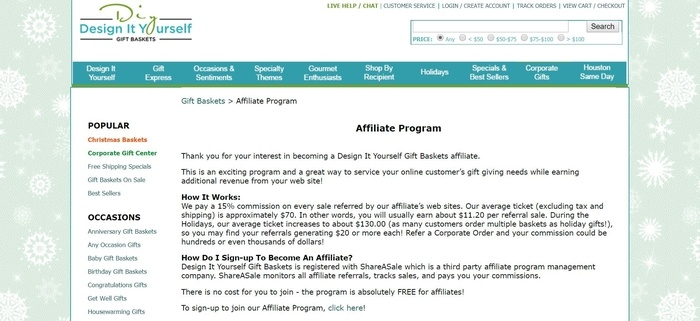 screenshot of the affiliate sign up page for Design It Yourself Gift Baskets