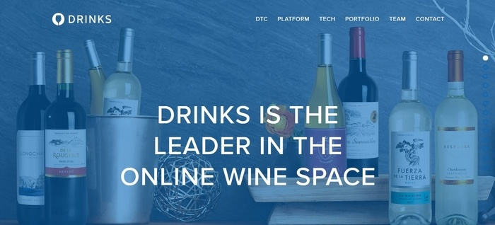 screenshot of the affiliate sign up page for Drinks