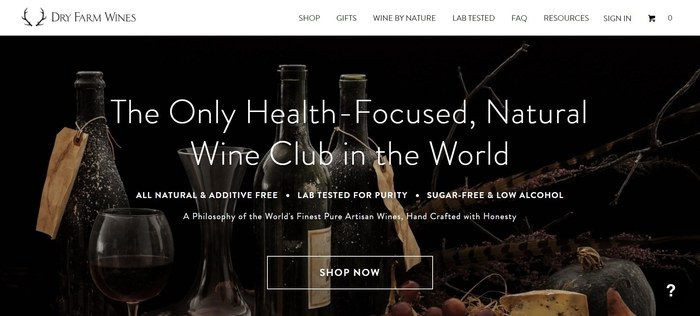 screenshot of the affiliate sign up page for Dry Farm Wines
