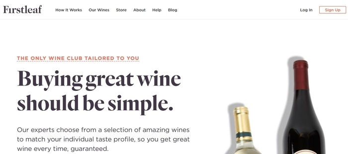 screenshot of the affiliate sign up page for Firstleaf Wine Club