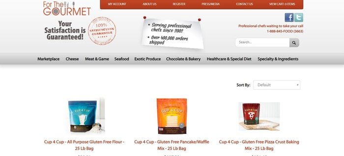 screenshot of the affiliate sign up page for For The Gourmet