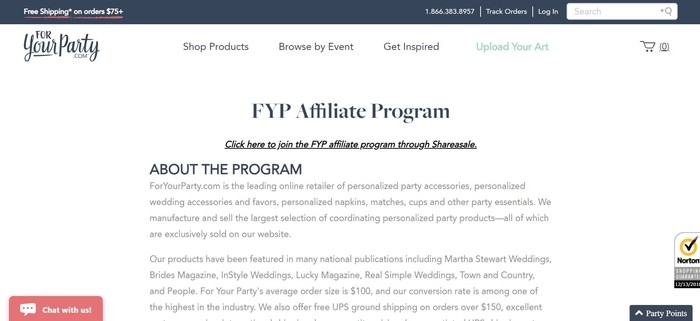 screenshot of the affiliate sign up page for ForYourParty