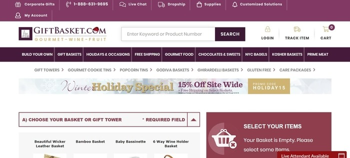 screenshot of the affiliate sign up page for GiftBasket.com