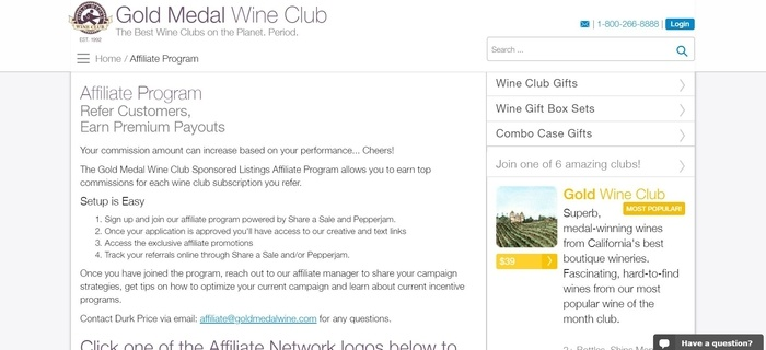 screenshot of the affiliate sign up page for Gold Medal Wine Club