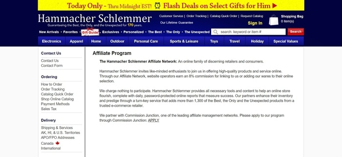 screenshot of the affiliate sign up page for Hammacher Schlemmer